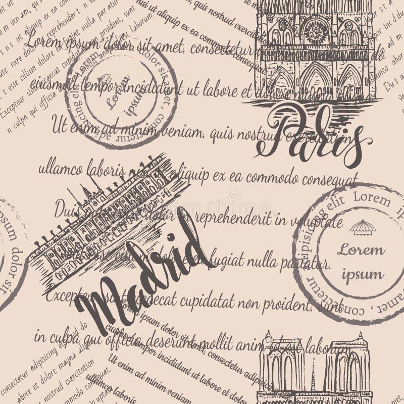 Zegels, Notre-Dame-Kathedraal en Royal Palace met het van letters voorzien van Parijs en Madrid, naadloos patroon op beige achter vector illustratie