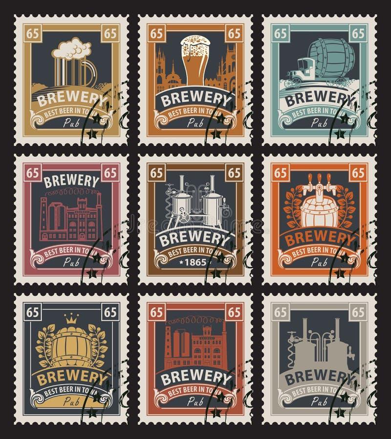 Zegels op bier en brouwerij stock illustratie