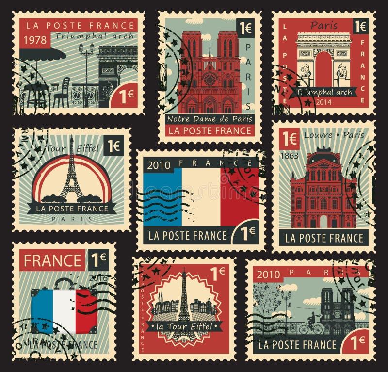 Zegels op het thema van Frankrijk royalty-vrije illustratie