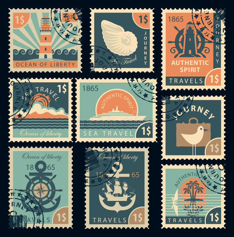 Zegels op het thema van reis door overzees stock illustratie
