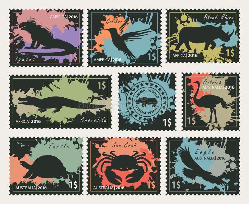 Zegels op het thema van het wilddieren en vogels stock illustratie