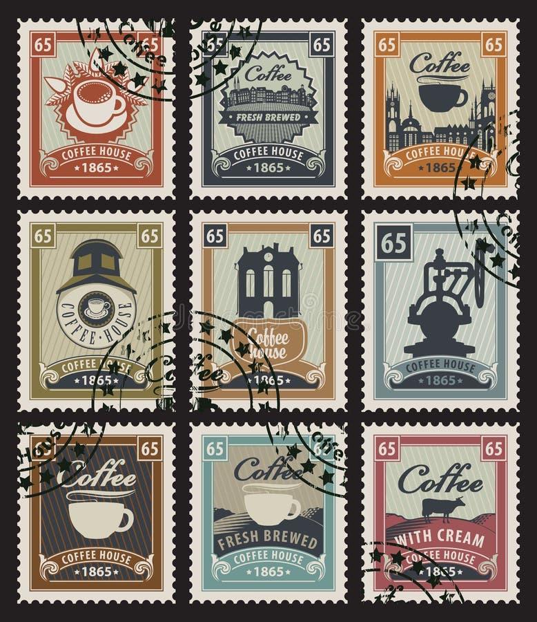 Zegels voor koffie royalty-vrije illustratie