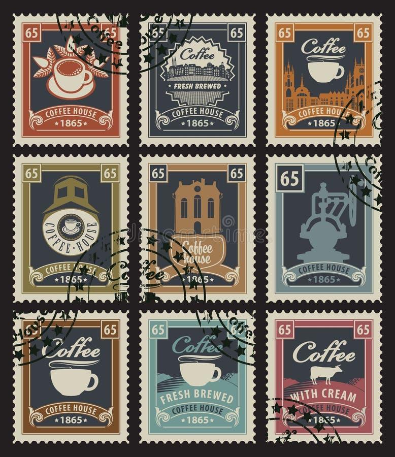 Zegels voor koffiehuizen royalty-vrije illustratie
