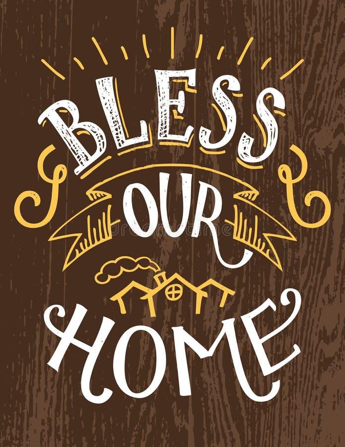 Zegen ons huis hand-van letters voorziend citaat royalty-vrije illustratie