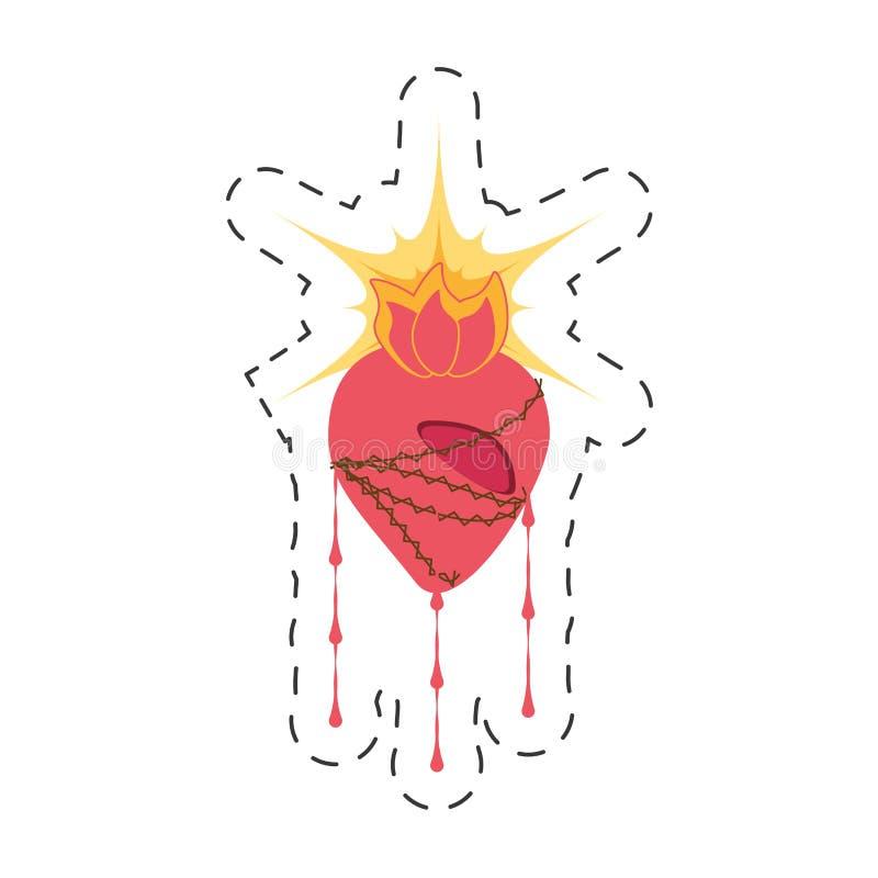 zegende het beeldverhaal heilige hart Jesus stock illustratie