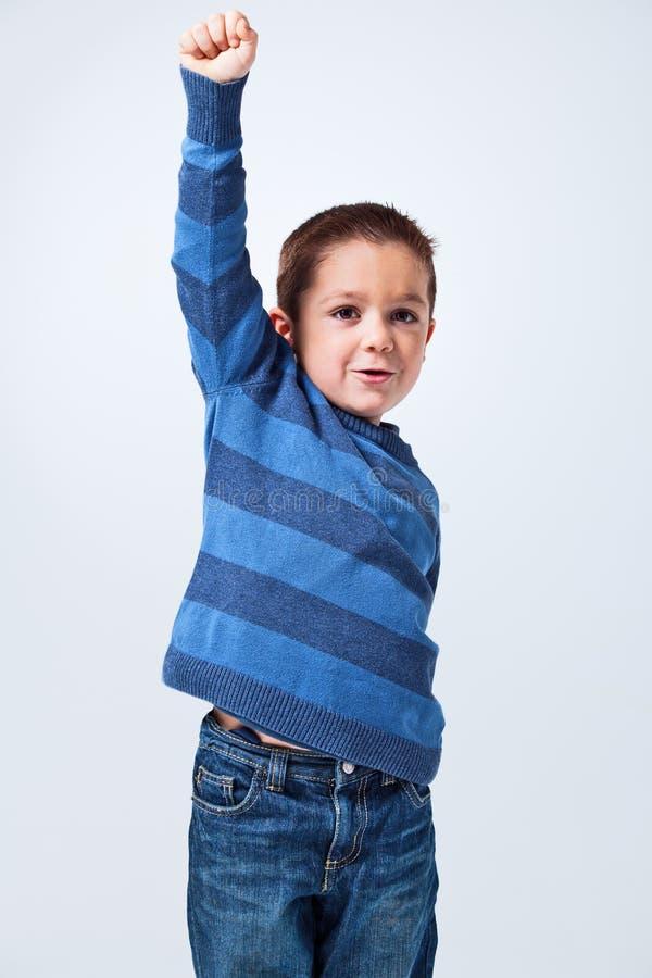 Zegevierend Little Boy royalty-vrije stock foto