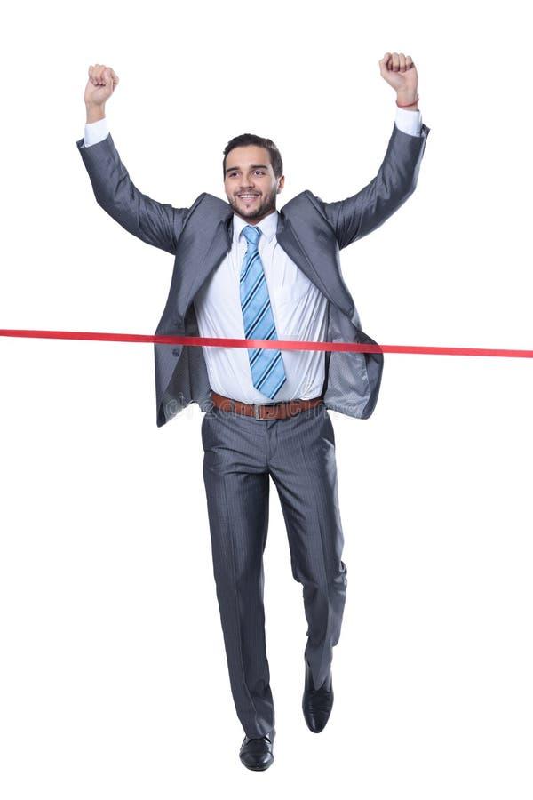 Zegevierend zakenman voor de beginnende band stock afbeelding