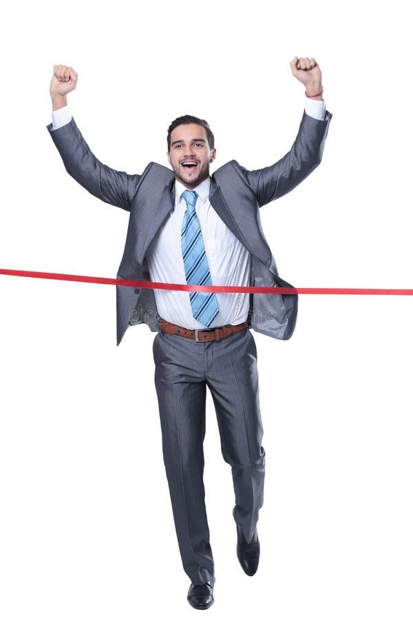 Zegevierend zakenman voor de beginnende band stock fotografie