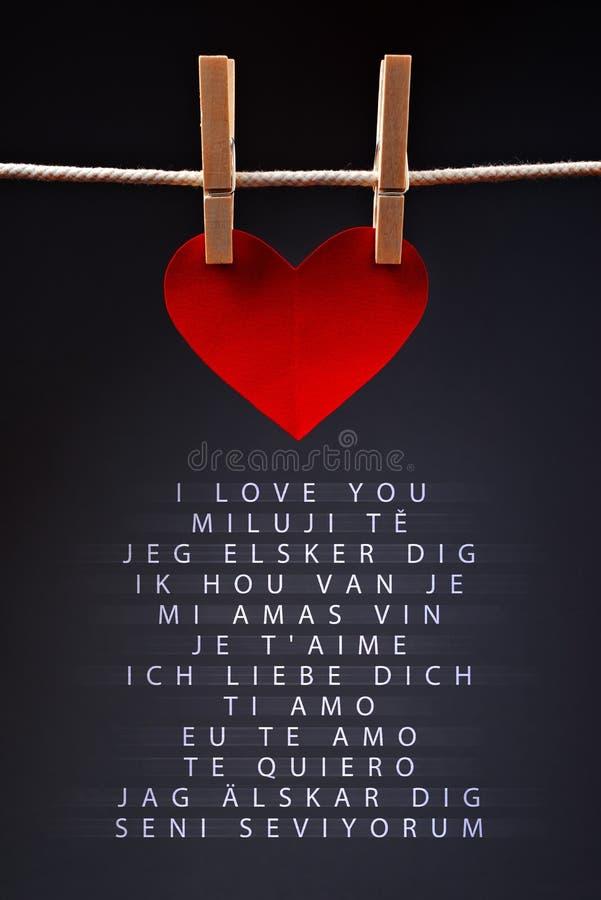 Zeggend I-liefde u in verschillende talen stock afbeelding