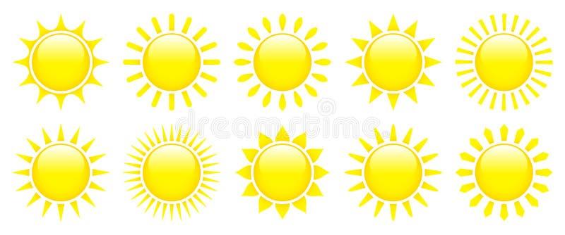 Zehn gelbe grafische Sun-Ikonen glattes 3D lizenzfreie abbildung