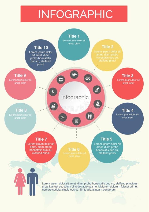 Zehn Kreise Infographics bunt mit Ikonendesign lizenzfreie abbildung
