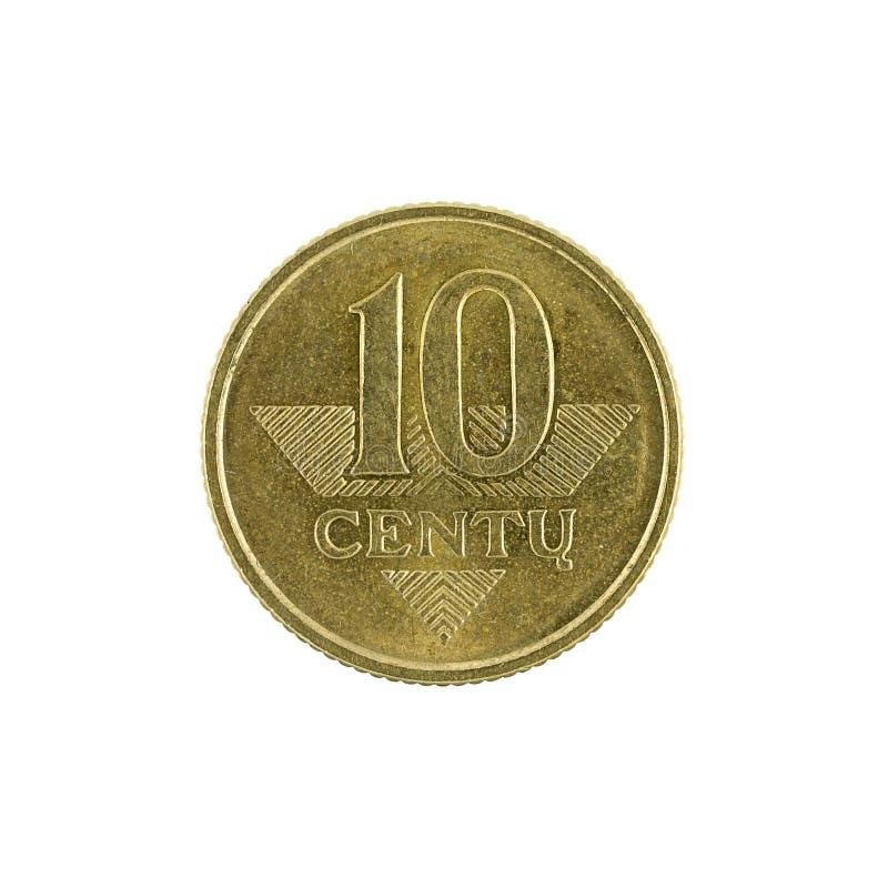 Zehn Litauer centu Münze 2008 lokalisiert auf weißem Hintergrund lizenzfreie stockfotografie