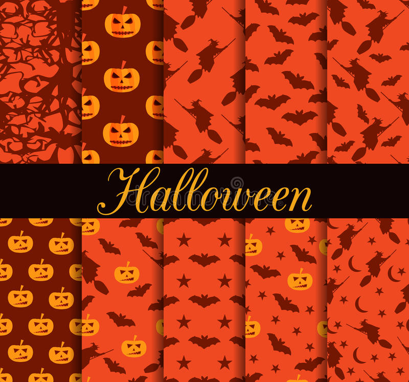 Zehn nahtlose Muster Halloweens Muster mit Lampe Jack, Hexe mit Schlägern Halloween ssimbols vektor abbildung