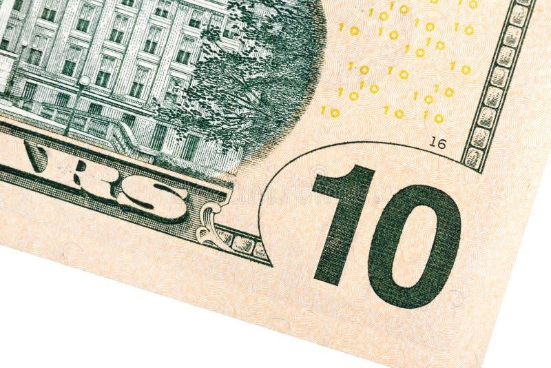 Zehn US-Dollar Bezeichnungsabschluß oben stockbild