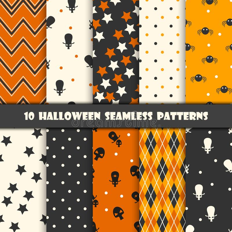 Zehn verschiedene nahtlose Muster Halloweens Endlose Beschaffenheit für Tapete, Webseitenhintergrund, Packpapier und usw. Retro-  lizenzfreie abbildung