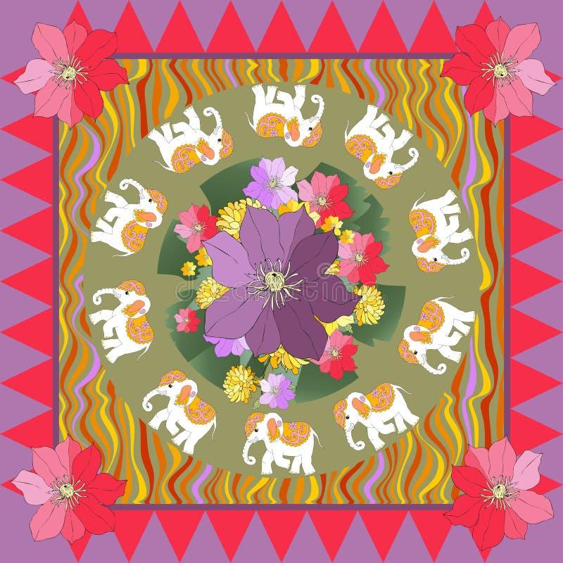 Zehn weiße Elefanten Tischdecke oder Schal mit Blumen und Paisley vektor abbildung