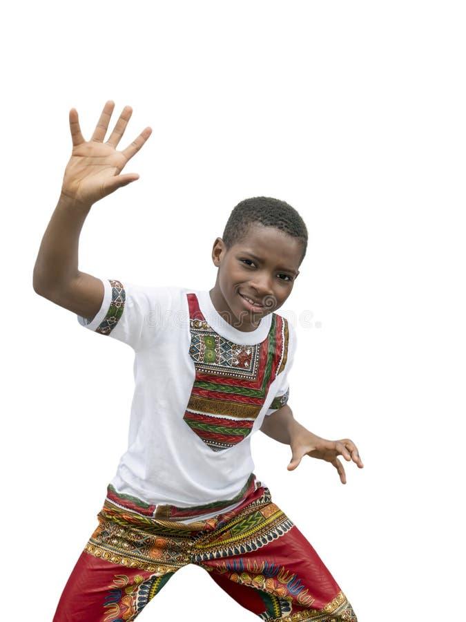 Zehnjähriges Jungentanzen, lokalisierter, weißer Hintergrund lizenzfreie stockbilder