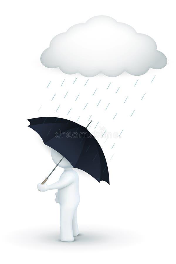 Zeichen 3d, das mit Regenschirm am regnerischen Tag geht stock abbildung