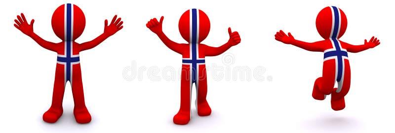 Zeichen 3d gemasert mit Markierungsfahne von Norwegen lizenzfreie abbildung