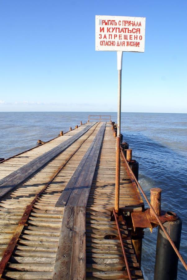 Zeichen auf dem Pier lizenzfreies stockbild