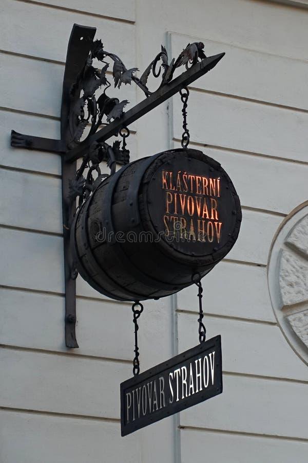 Zeichen-Brett klösterlicher Brauerei Strahov, Prag, Tschechische Republik, Europa stockbilder