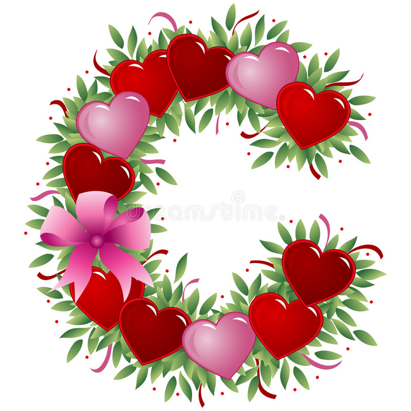 Zeichen C - Valentinsgrußzeichen stock abbildung