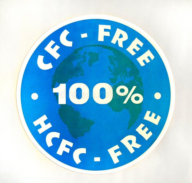 Zeichen CFC 100%, HCFC-frei stockbild