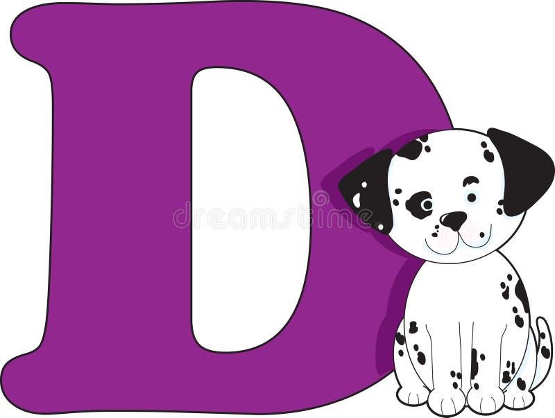 Zeichen D mit einem Hund stock abbildung