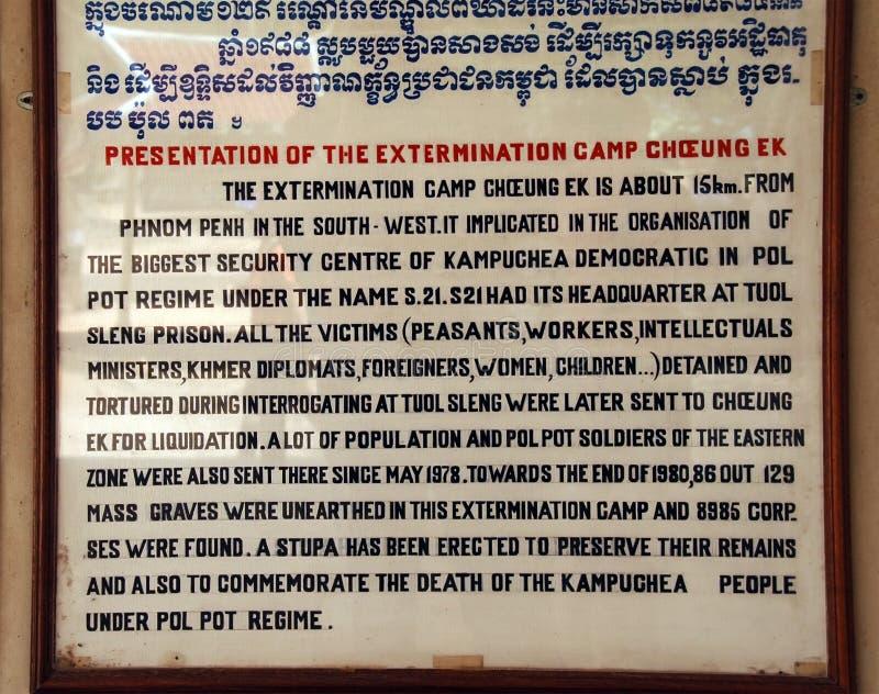 Zeichen an den kambodschanischen Tötungs-Feldern beschreibt die benutzten Chemikalien stockbild