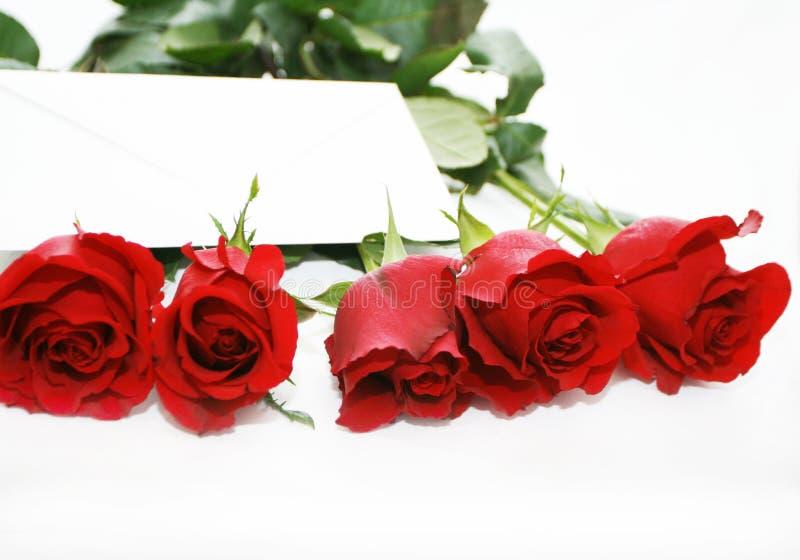 Zeichen in den roten Rosen lizenzfreie stockfotografie