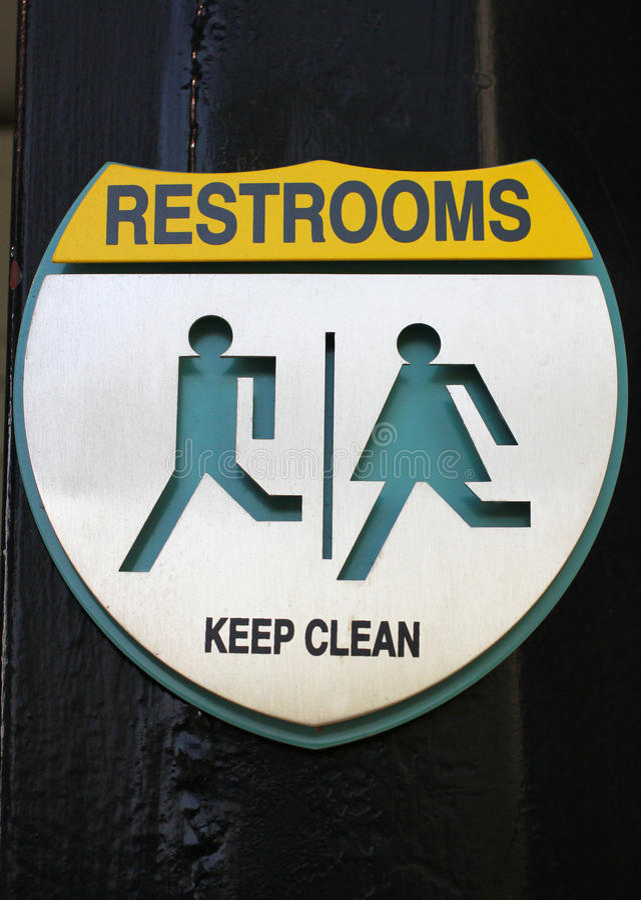Zeichen der allgemeinen Toilette stockfotos