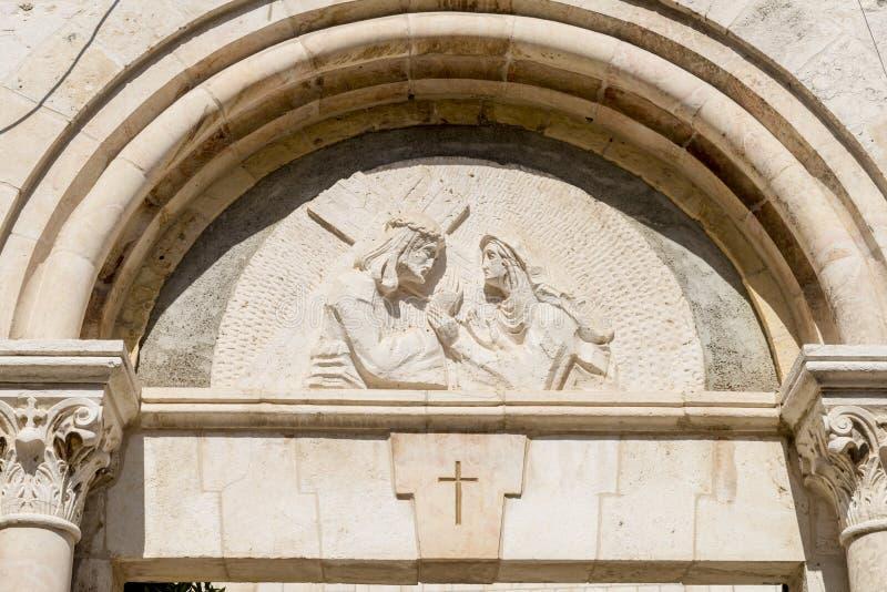 Zeichen der Anbetung der Christen auf über Dolorosa in Jerusalem lizenzfreies stockbild
