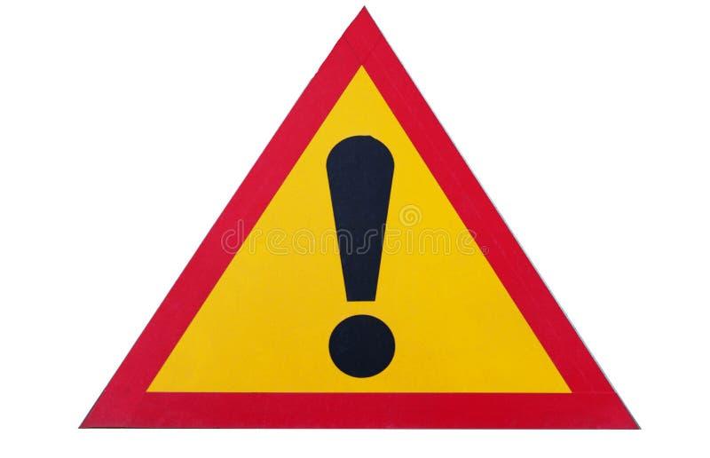 Zeichen der Aufmerksamkeit auf weißem Hintergrund, Nahaufnahme, Gefahr lizenzfreie stockfotografie