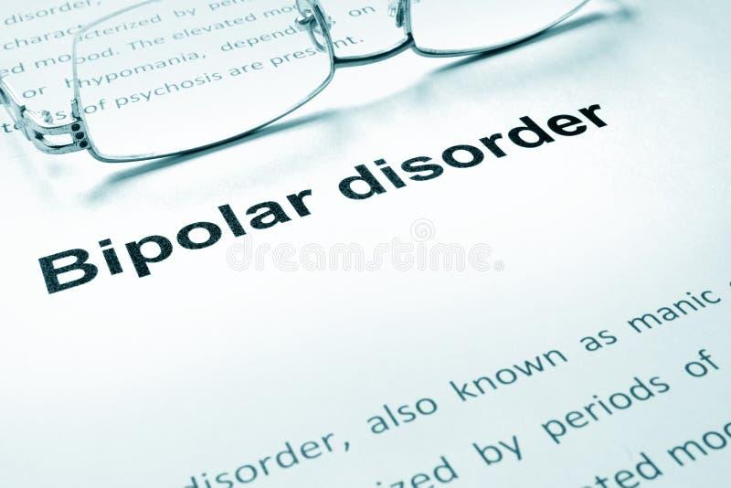 Zeichen der bipolaren Störung auf einem Papier lizenzfreies stockfoto