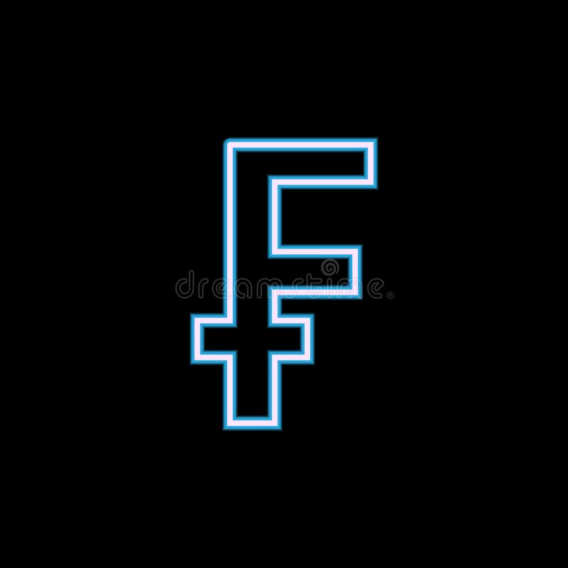 Zeichen der Frankenikone in der Neonart Ein der Netzsammlungsikone kann für UI, UX verwendet werden vektor abbildung