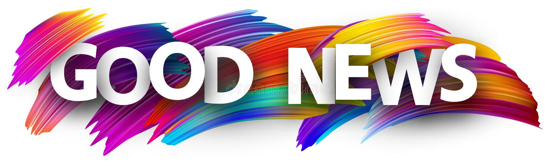 Zeichen der guten Nachrichten mit bunten Bürstenanschlägen stock abbildung