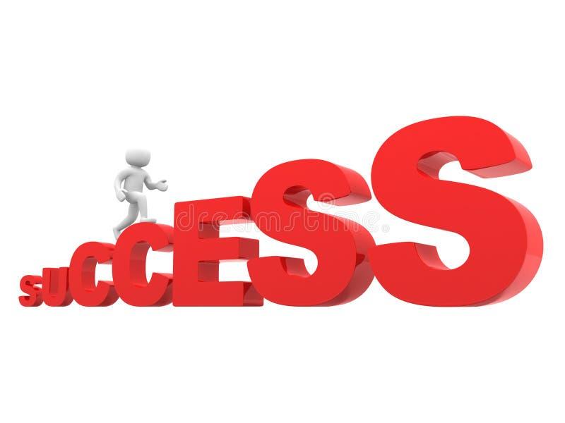 Zeichen der Leute 3d, das oben auf Erfolgstreppen läuft vektor abbildung