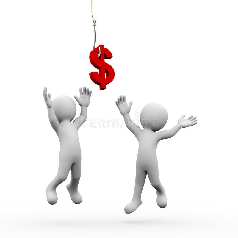 Zeichen der Leute 3d und des Dollars auf dem Fischereihaken stock abbildung