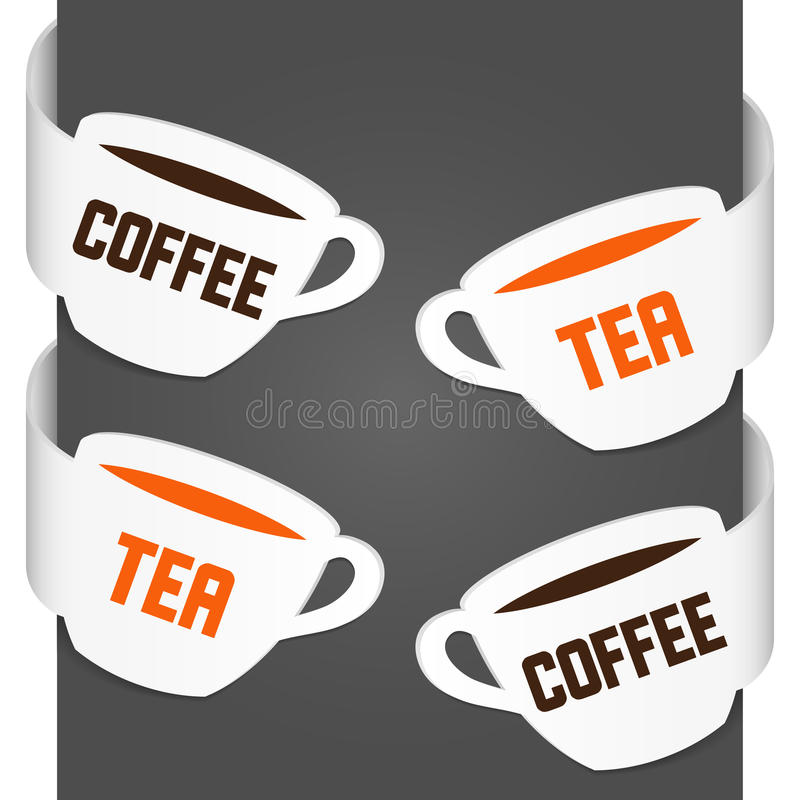 Zeichen der linken und rechten Seite - Kaffee und Tee lizenzfreie abbildung