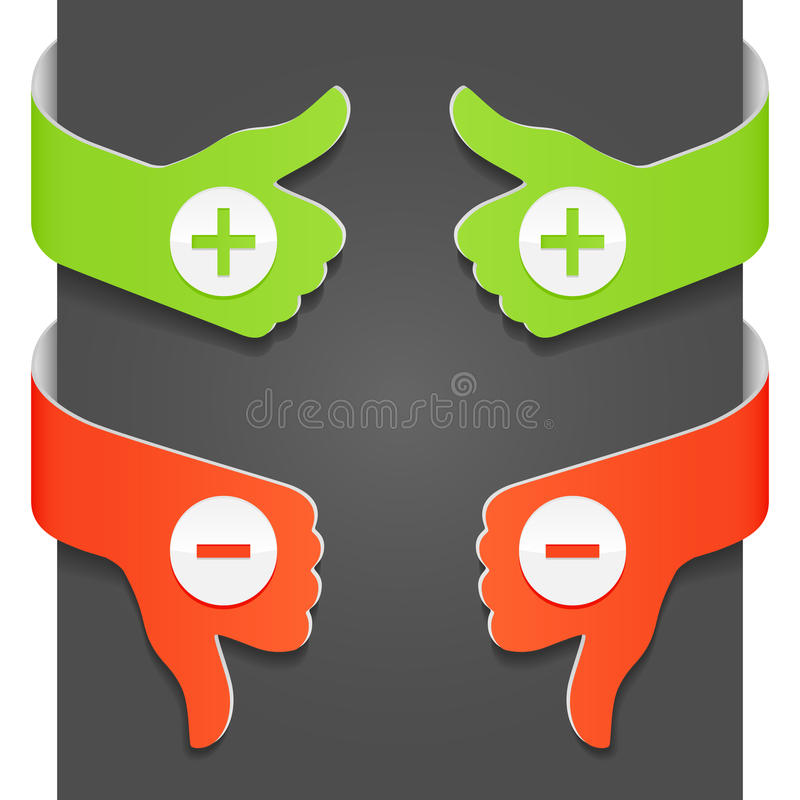 Zeichen der linken und rechten Seite - PLUS und MINUS stock abbildung