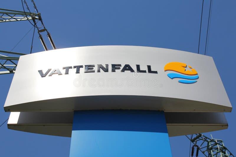 Zeichen der schwedischen Elektrizitätsgesellschaft Vattenfall lizenzfreies stockfoto