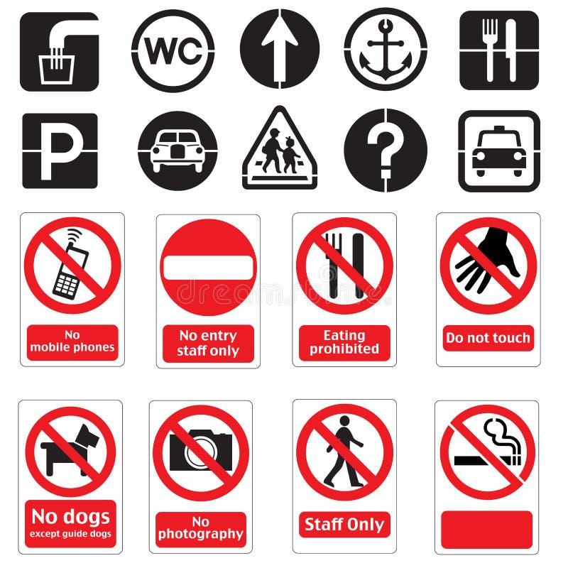 Zeichen des öffentlichen Orts Anschlagtafeln stock abbildung