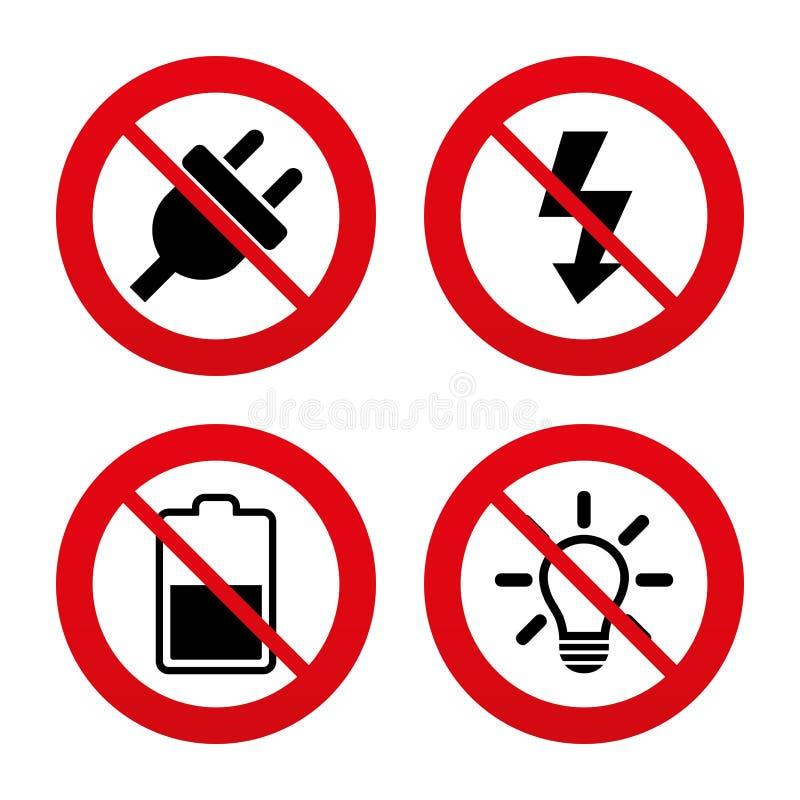 Zeichen Des Elektrischen Steckers Helle Lampe Und Batterie Halb ...
