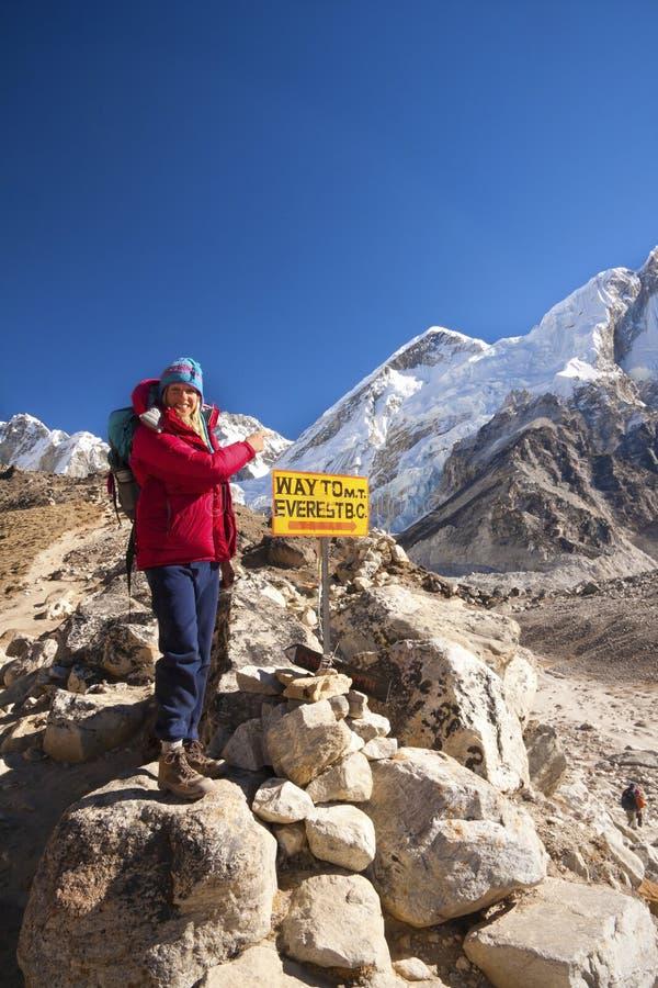 Zeichen des Everest-niedrigen Lagers. stockbild