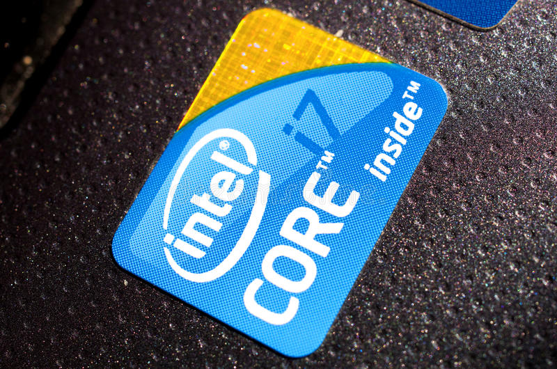 Zeichen des Intel-Kernes i7 stockfoto