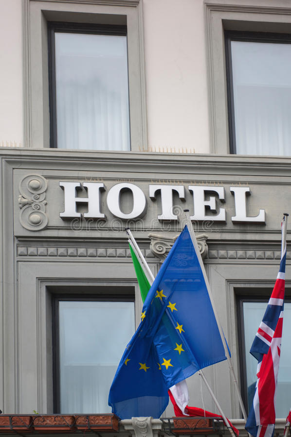 Zeichen des internationalen Hotels lizenzfreie stockfotografie