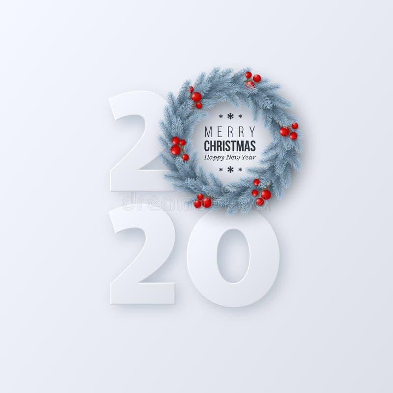 Zeichen des neuen Jahres 2020 mit Baumkranz der Tanne 3d vektor abbildung