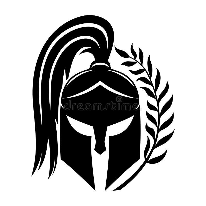 Zeichen des schwarzen spartanischen Sturzhelms vektor abbildung