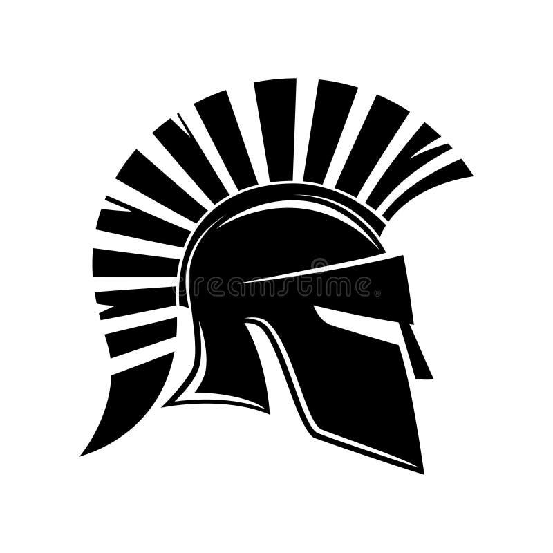 Zeichen des spartanischen Sturzhelms stock abbildung