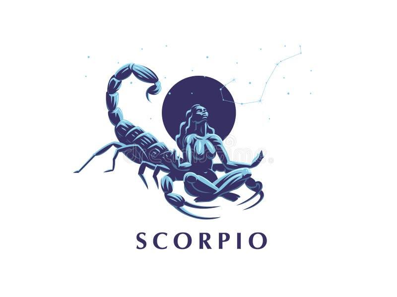 Zeichen des Tierkreis Skorpions Konstellation des Skorpions stock abbildung